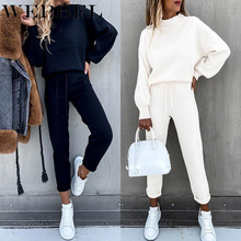 Sweatshirt Suit Autumn Winter Fashion Women's Pencil-Pants Long-Sleeve Lace-Up Casual