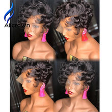 Alicrown Short Bob Curly Lace Front Human Hair Wigs For Women Brazilian Pixie Cut Lace Wigs Non-Remy Middle Ration(Китай)