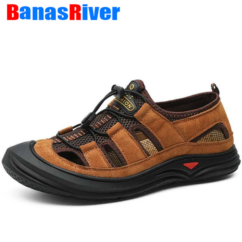 New Men Leather&Mesh Outdoor Sandals Summer Breathable Casual Shoes Anti-slip Footwear Walking Beach Water Sneakers Botas Hombre