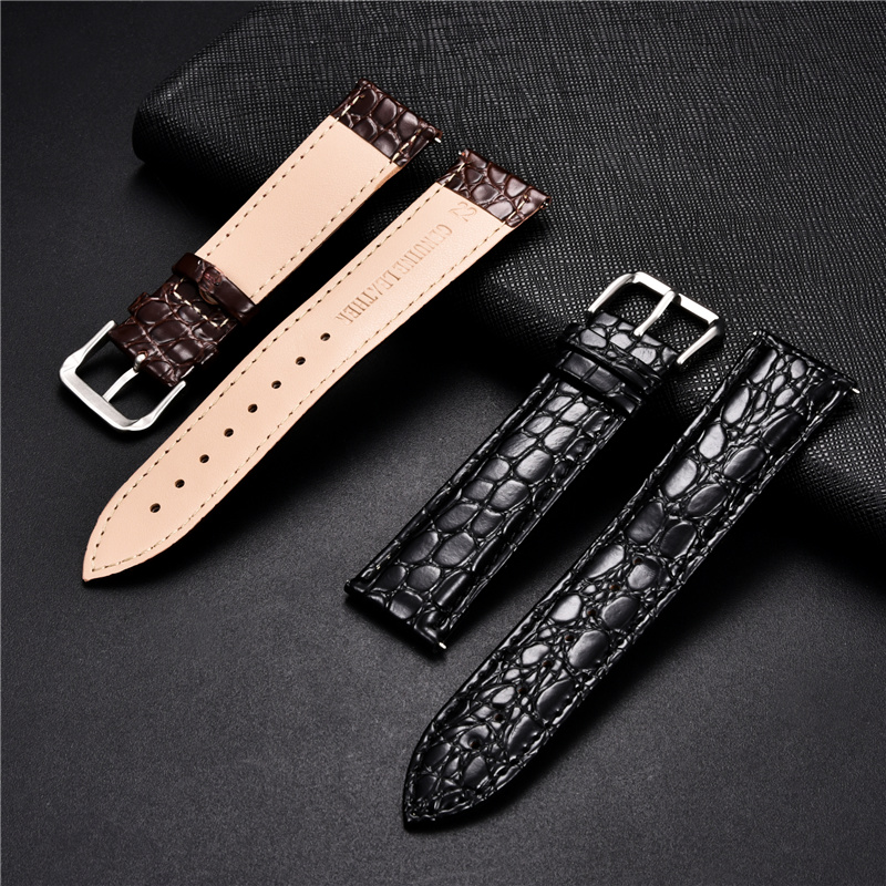 Crocodile Skin Design Calfskin Strap Soft Leather Watchbands Replacement Business Straps 16 18 20 22 24mm Casual Watch Band