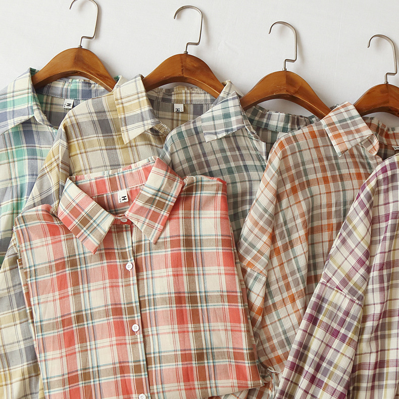 FY001   Matching thin early summer size check Lapel single-row button-down long-sleeve sun-proof shirt jacket woman