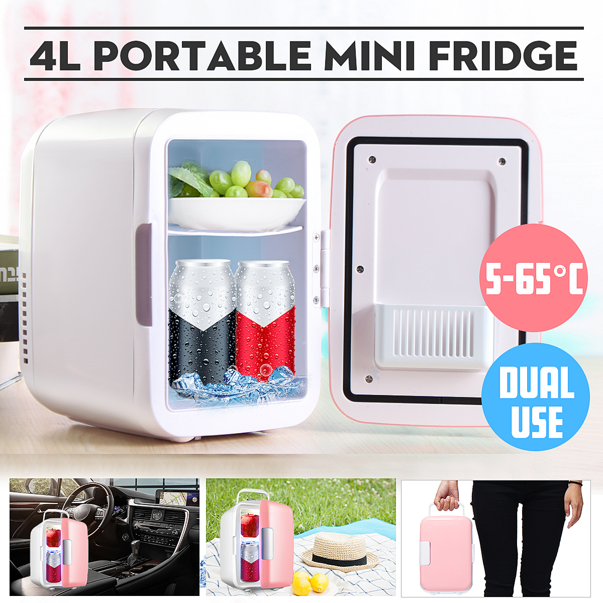 Mini Refrigerators Freezer Cooling Car Fridge Home 12V DC Outdoor 4L Heating-Box Quiet title=