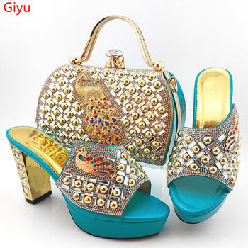 doershow Italian Matching Shoes and Bag Set African Wedding Shoe and Bag set Italy Shoe and Handbag Summer Set Women HYG1-21
