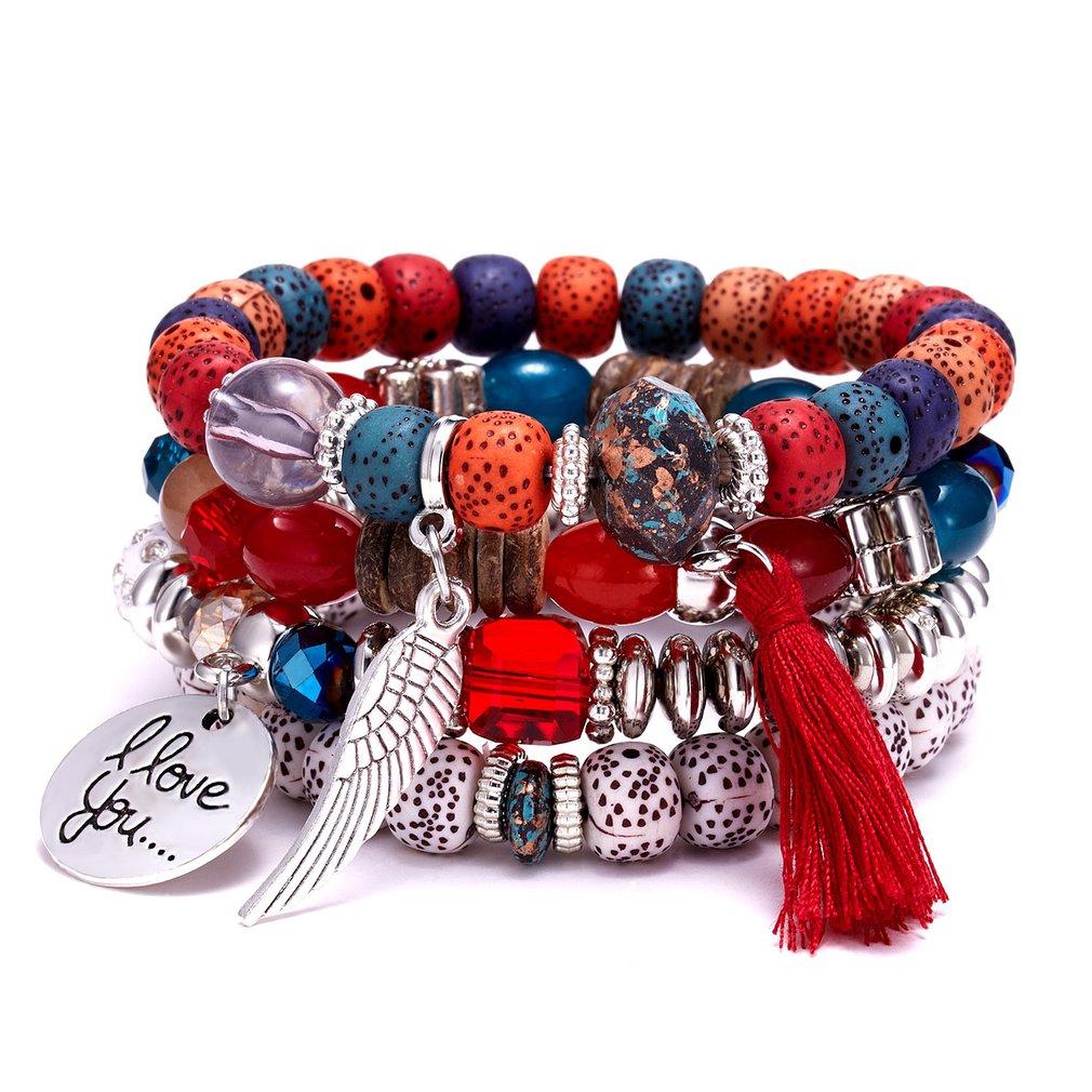 4 шт./компл. браслет с крыльями и бахромой из натурального камня элегантный
