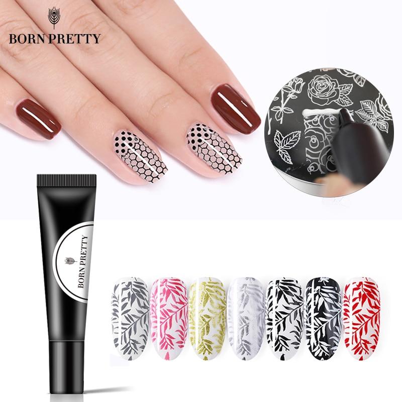 BORN PRETTY ногтей штамповка Гель-лак 8 мл черный белый штамп печать масло УФ Гель-лак для ногтей замачиваемый лак для пластина для стемпинга для нейл-арта