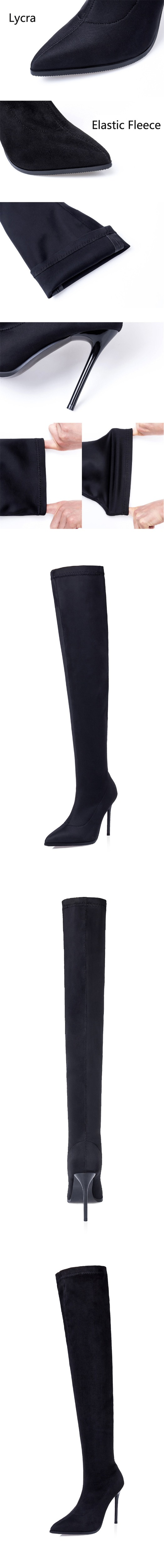 D Knight Sexy Pointed Toe Women Stiletto High Heel Over The Knee Boots Fashion Nightclub Stretch Women's Thigh High Boots Shoes (7)