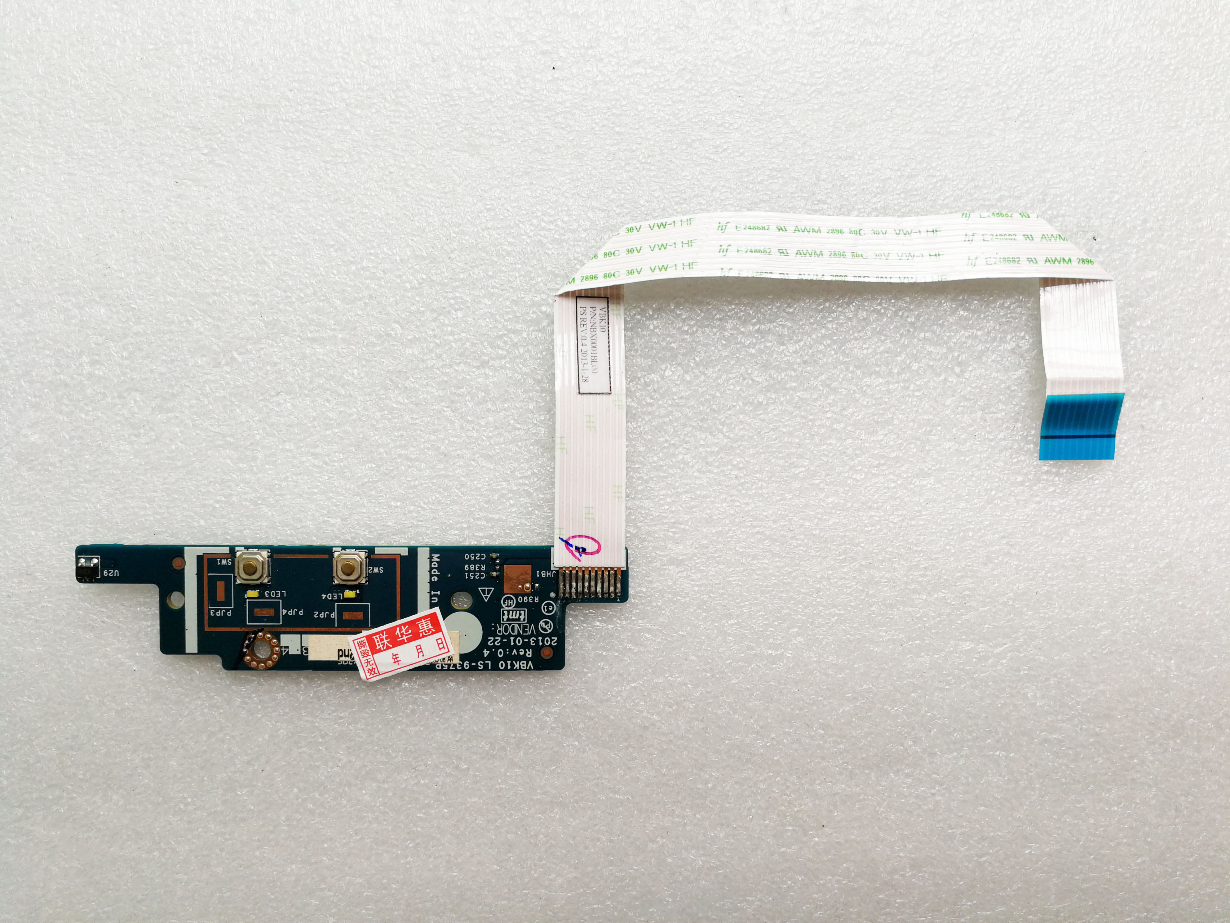 "HP 17.3/"" ZBOOK 17 Genuine Power Button Board LS-9376P"