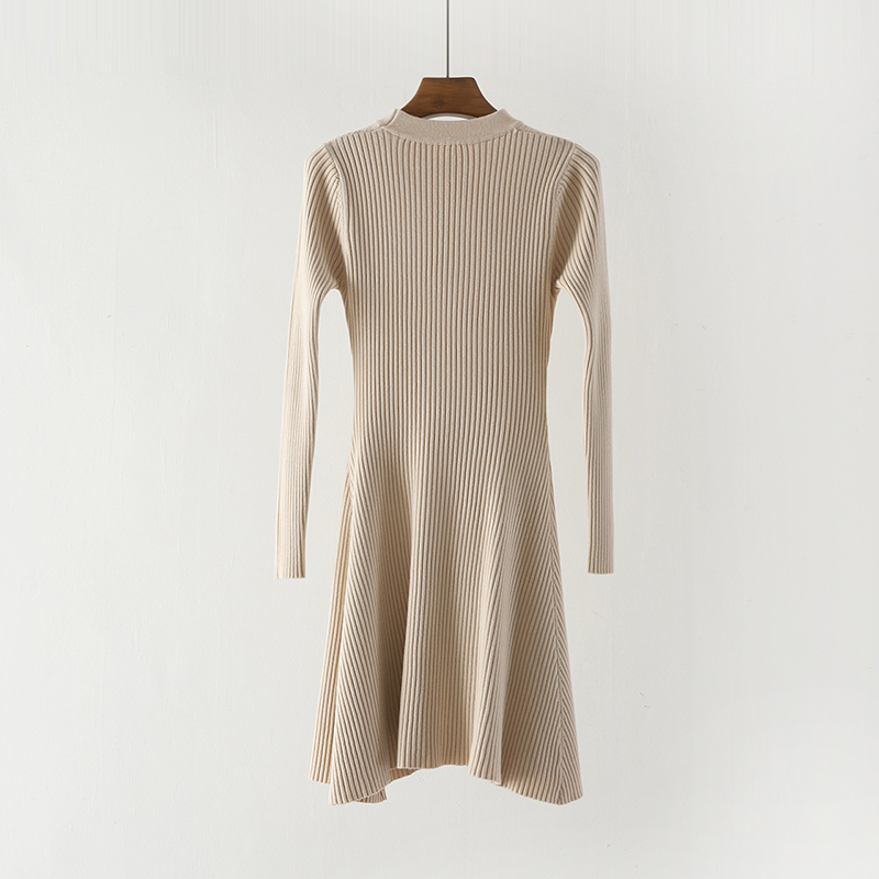 Women Long Sleeve Sweater Dress Women's Irregular Hem Casual Autumn Winter Dress Women O-neck A Line Short Mini Knitted Dresses 14