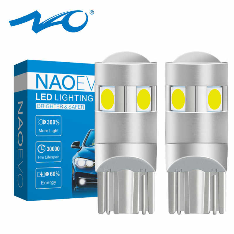 NAO W5W LED Bright T10 LED Bulb 5 SMD 3030 Car Interior Light 1.6W 186 194 12V COB 6000K White Amber Side Clearance Lights Red