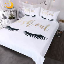 BlessLiving Eyelash Bedding Queen Gold and Black Cute Eyes Pattern Quilt Cover Set 3 Piece Funny Duvet Cover for Fashion Girls(China)
