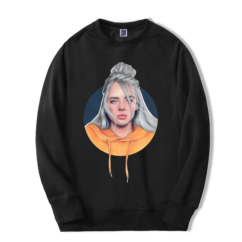 Billie Eilish Sweatshirts Mens Singer Bad Guy Funny Print Sportswear 2019 Autumn Winter Warm Hoodies Hip Hop Couple Tracksuit