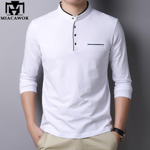 Polo-Shirt Slim-Fit Long-Sleeve MIACAWOR New Spring Cotton Solid Homme Mandarin-Collar