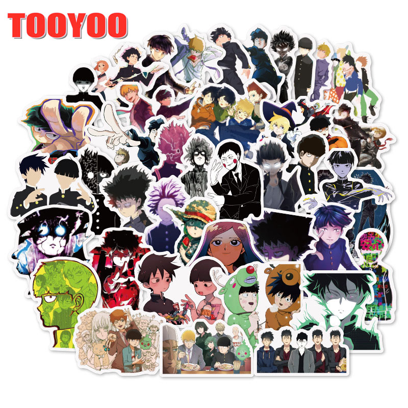 50Pcs/Set Japanese Cartoon Anime Mob Psycho 100 Stickers Decal For Skateboard Snowboard Luggage Car Fridge Laptop Diy Toy
