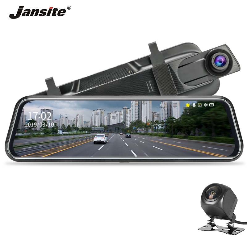 Jansite Car DVR Camera Rearview-Mirror Video-Recorder Touch-Screen Dual-Lens 10-Inches title=