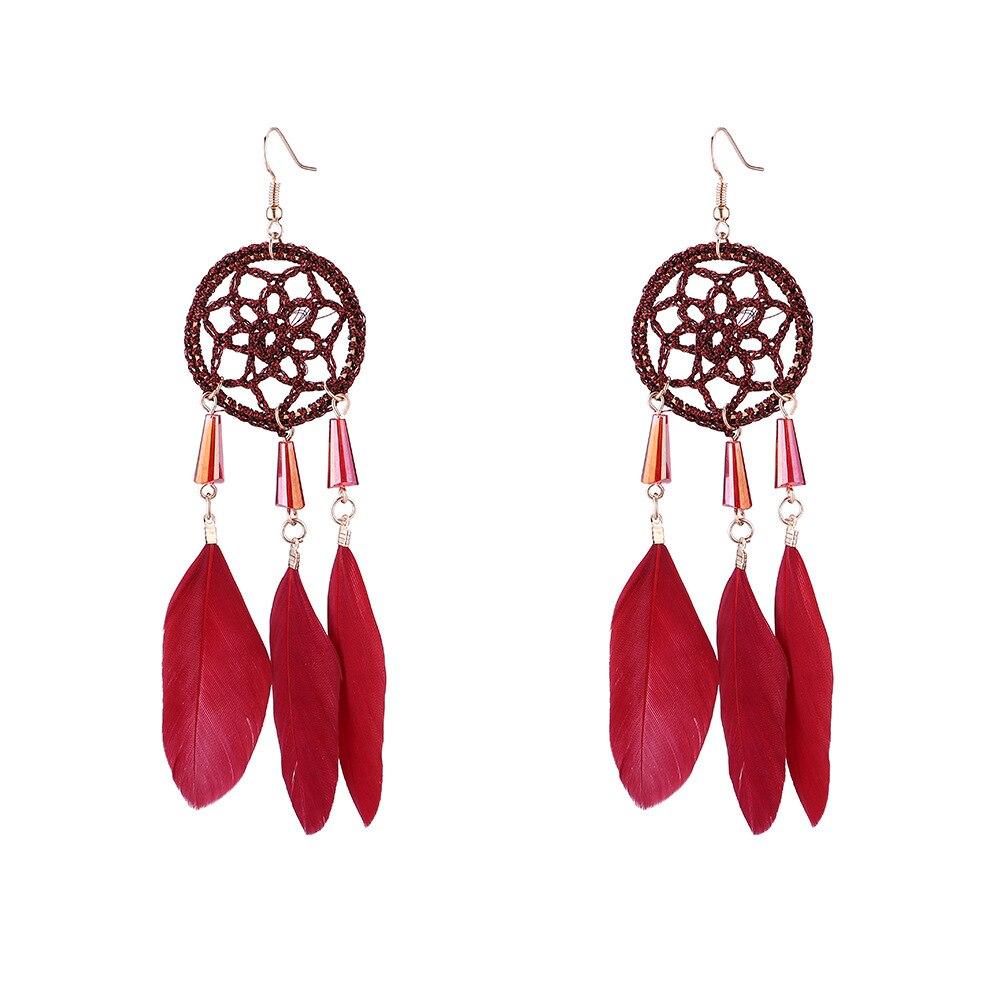 Boucles d'Oreilles Attrape Rêves Maison Rouge bijoux femme tenue unique style chic et bohème turquoise belle or massif style indien amérindienne capteurs de rêves