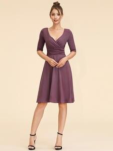 Homecoming-Dresses Ever Pretty Knee-Length Vestido V-Neck A-Line Simple Half Curto Elegant