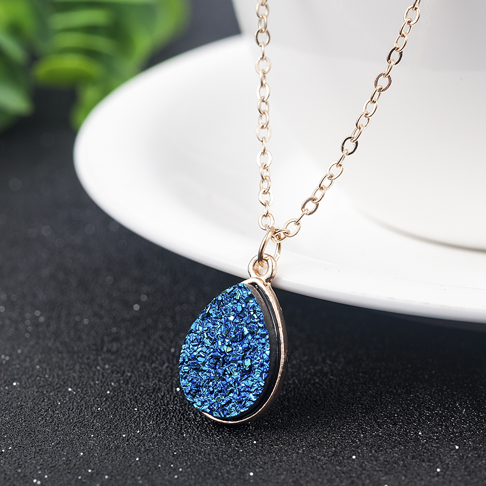 Collier Femme Charm Drop shape Stone Necklaces & Pendants for Women Crystal Bud Necklace Fashion Jewelry Kolye Collares 6