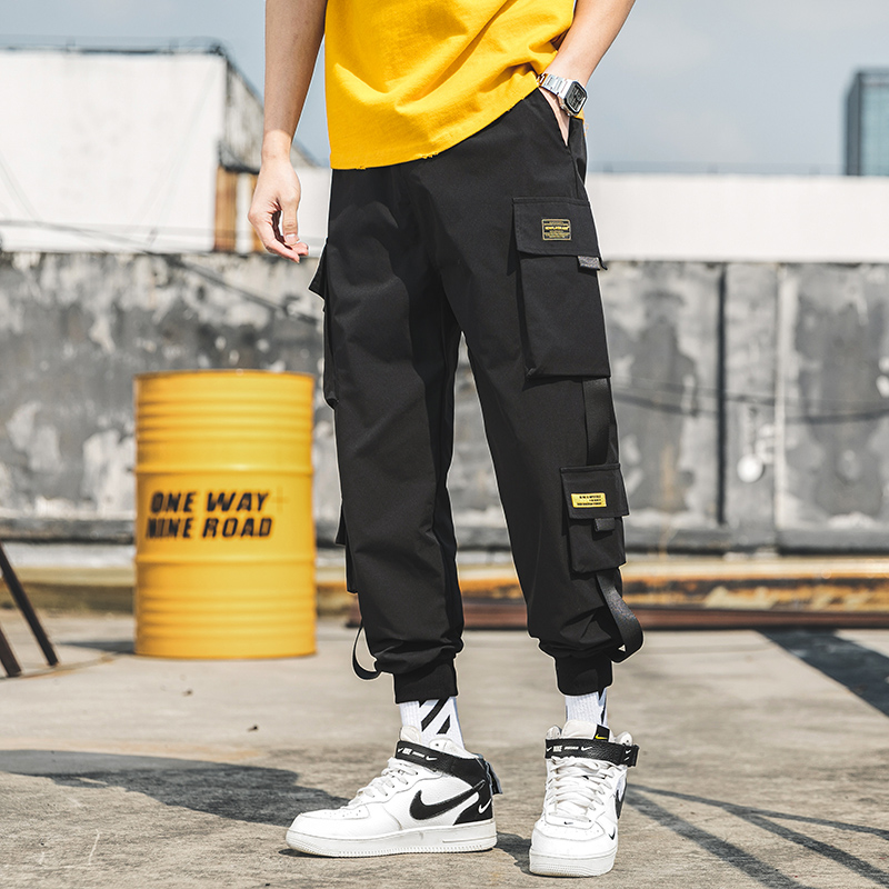 2020 New Hip Hop Joggers Cargo Pants Men Harem Pants Multi-Pocket Ribbons Man Sweatpants Streetwear Casual Mens Pants XS-5XL