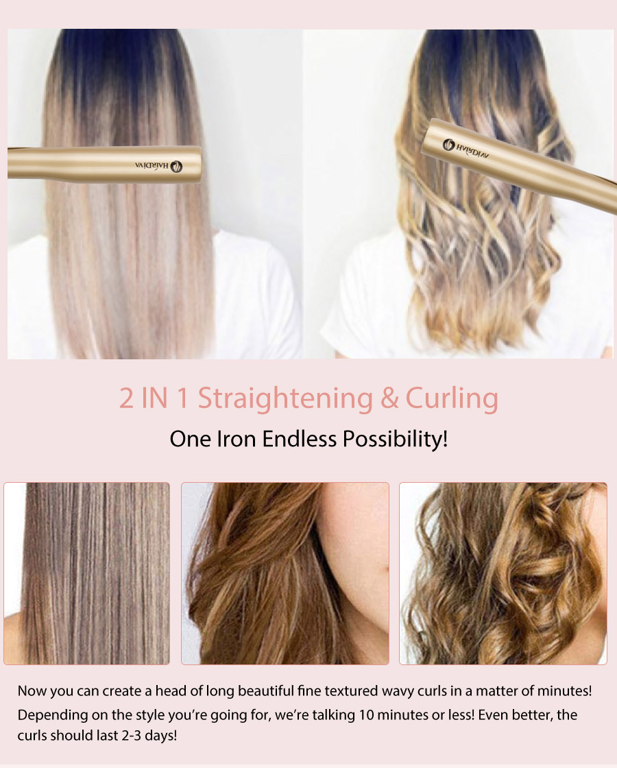 2 in 1 straightener and curler endless possiblity,Depending on the style you're going for,we're talking 10minutes or less! Even better, the curls should last 2-3 days!