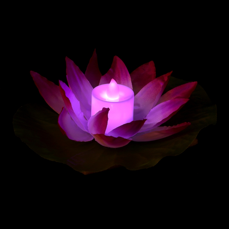 Artificial Floating Water Lily Lotus Flowers Waterproof Optic Fibre LED lights E