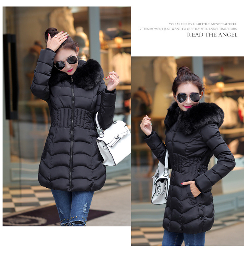 Winter Long Women Coats Parkas Slim Pleated Black Female Coat Outwear Fashion Disassembled Hooded Cotton Women Jackets MLD1271 12