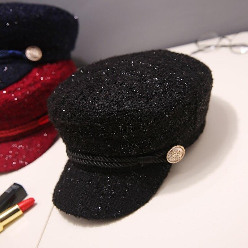 LL Womens Spring Summer Plaid Cadet Caps Black//Red