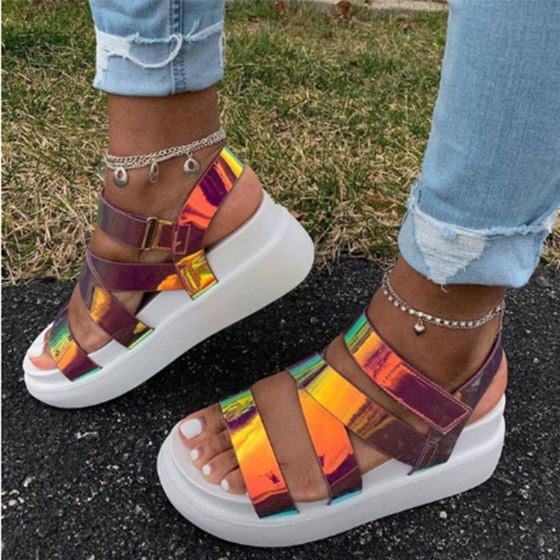 Summer Women Sandals Woman Platform Increase Height Shoes Female Bling Sequins Shoes Laides Casual Hook Loop Plus Size Footwear