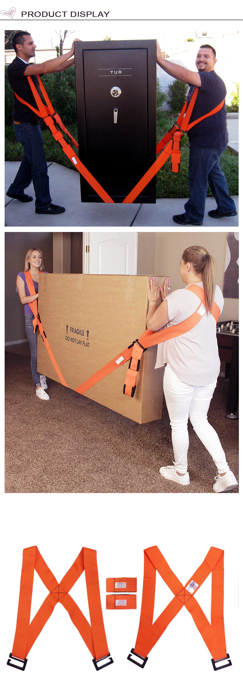 Lifting Moving Strap Furniture Carrying Belt Moving RopeHeavy  w//Bulky Handle
