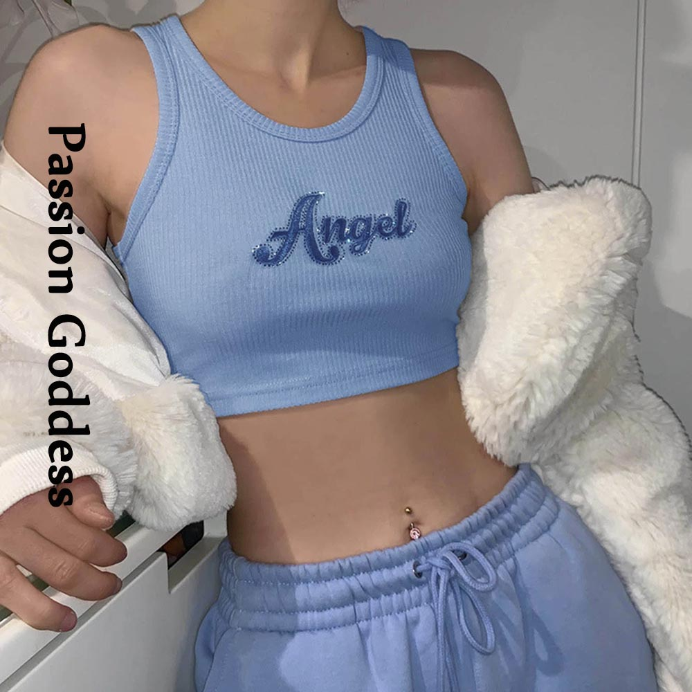 Women Sleeveless Neon Orange Crop Top Angel Embroidery Ribbed Knitted Slim Vest