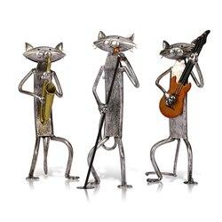 Tooarts Металлическая статуэтка поп игральная гитара саксофон Поющая статуэтка кота предметы интерьера ремесло подарок для украшения дома