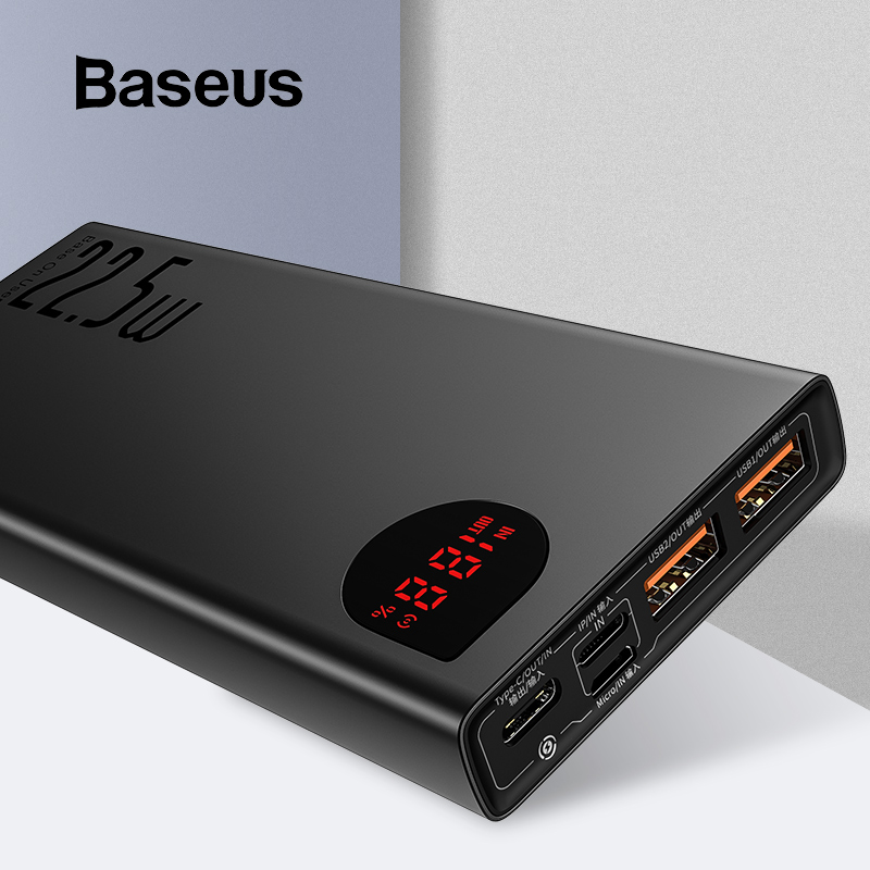 Baseus Power-Bank External-Battery-Charger Quick-Charge iPhone 11 Portable PD Usb-C 20000mah title=