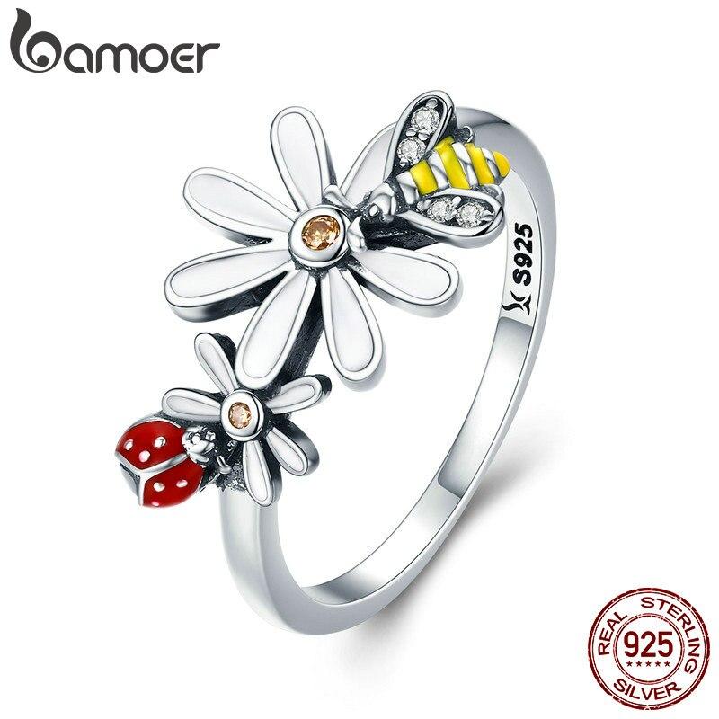 BAMOER, Настоящее серебро 100% 925 пробы, Пчела и Божья коровка в цветнике, кольца на палец для женщин, ювелирные изделия из стерлингового серебра SCR311