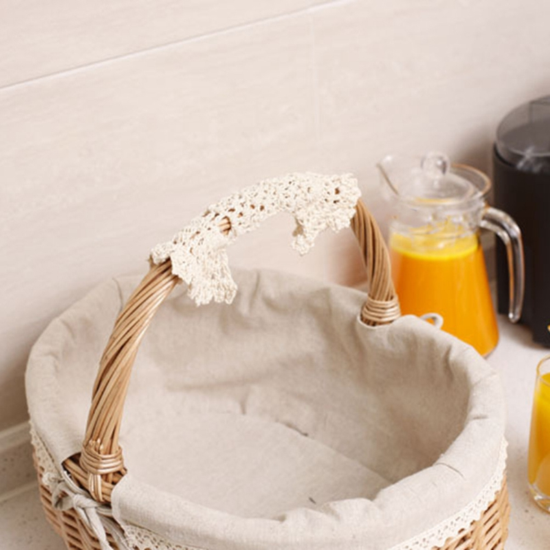 Cesta de picnic de mimbre hecha a mano Cesta de almacenamiento de compras que acampa con doble tapa y mango Color madera peque/ña