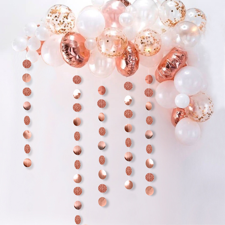 Rose Gold And Silver Circle Dot Banners Mirror Effect Bunting Garlands Baby Shower Wedding Decoration Party Decor Supplies