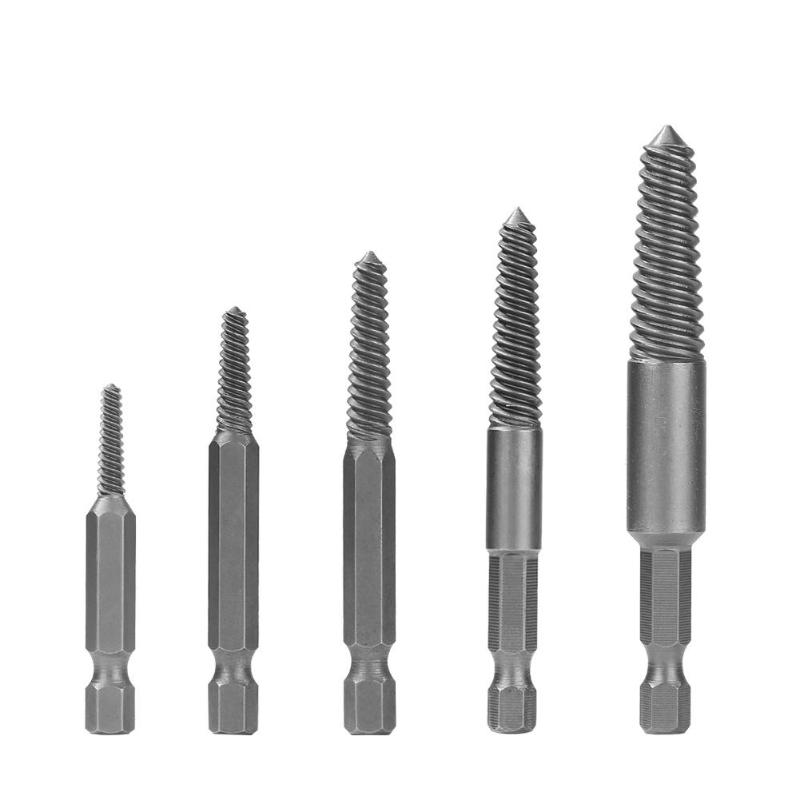 5x Broken Screw Extractor Remover Set Speed Out Drill Bits Damaged Stripped Tool