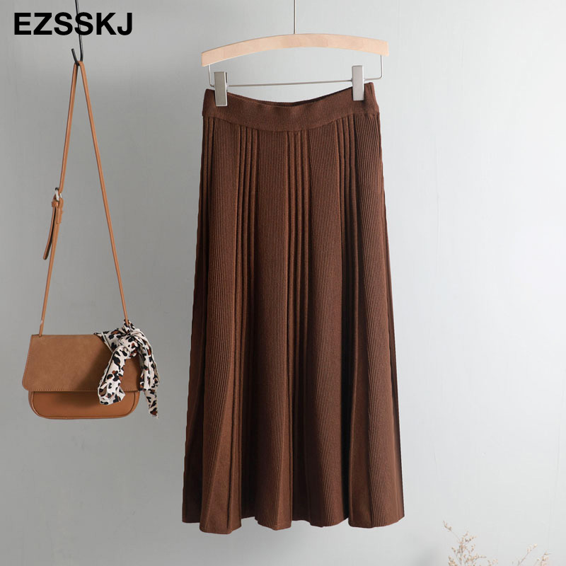Vintage Winter Women thick sweater skirt Elastic High Waist Pleated Midi knitted Skirt A-line female solid elegant Skirts 28