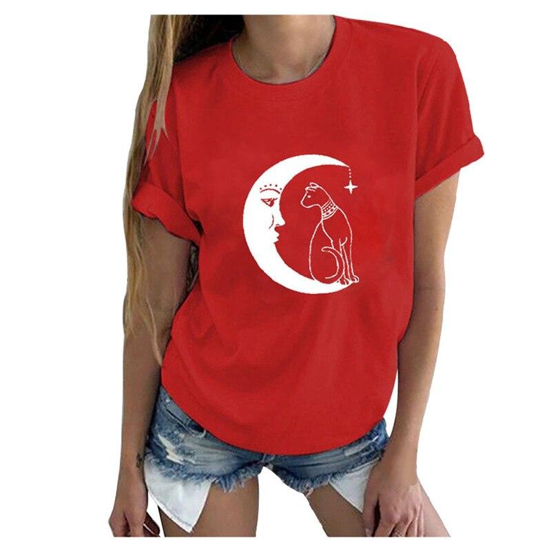 Cotton T-Shirt,Black Cat Siting on Moon Fashion Personality Customization