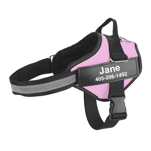 New-Personalized-Dog-Harness-Reflective-Breathable-Adjustable-Pet-Harness-Vest-ID-custom-Velcro-Outdoor-Walking-Dog