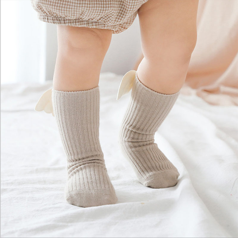Baby Girls Knee High Socks Angel wing  Summer Autumn Baby Girls Cotton Socks Solid Candy Color Kids Toddler  Short Socks