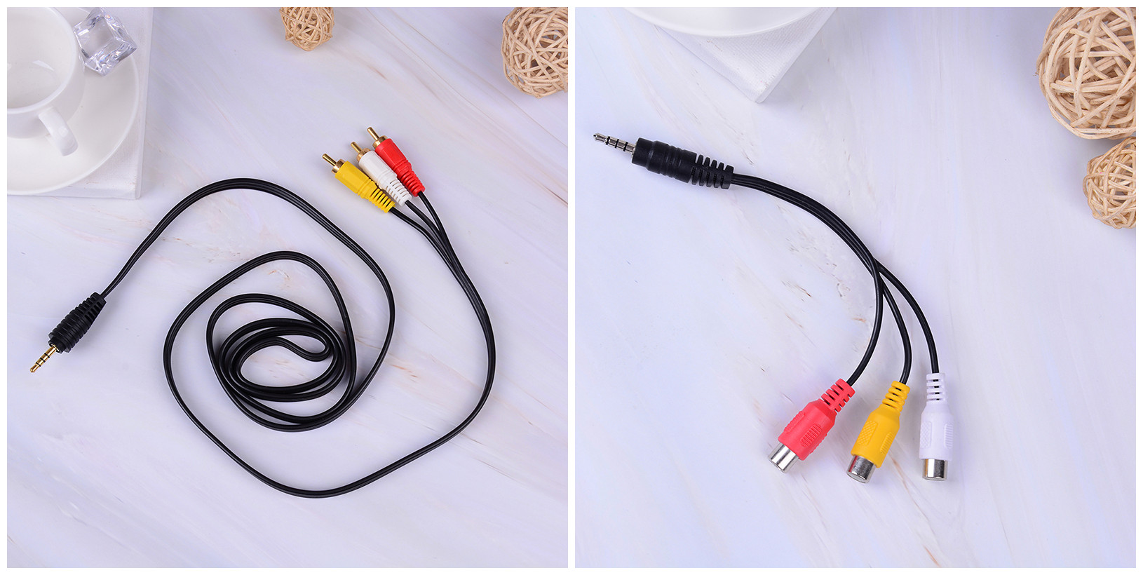 JETTING 3.5mm Jack Plug To 3 RCA Plugs Male To Male/ Male To 3rca Female Audio Video AV Adapter Cable High Quality