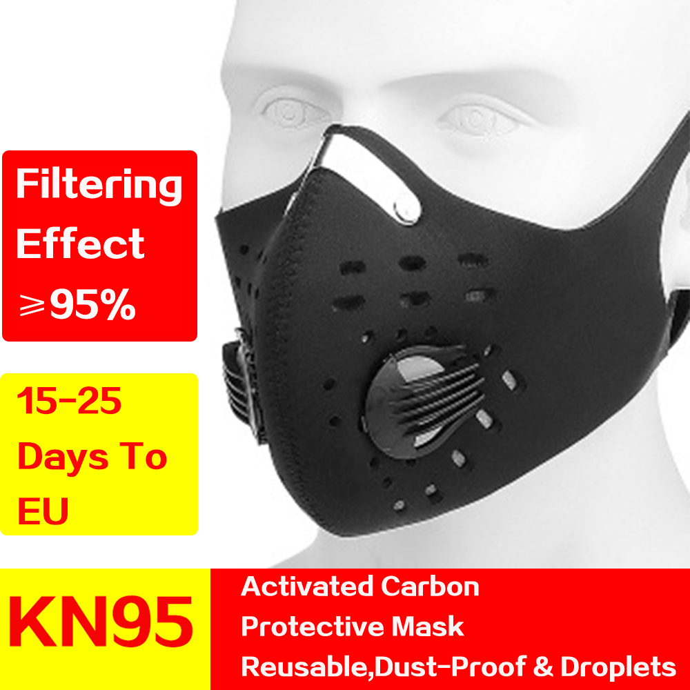KN95 Antiviral Coronavirus Dust Mask Activated Carbon With Filter Anti-Pollution Cycling Sport Bicycle Face Mask kn95 Protective title=