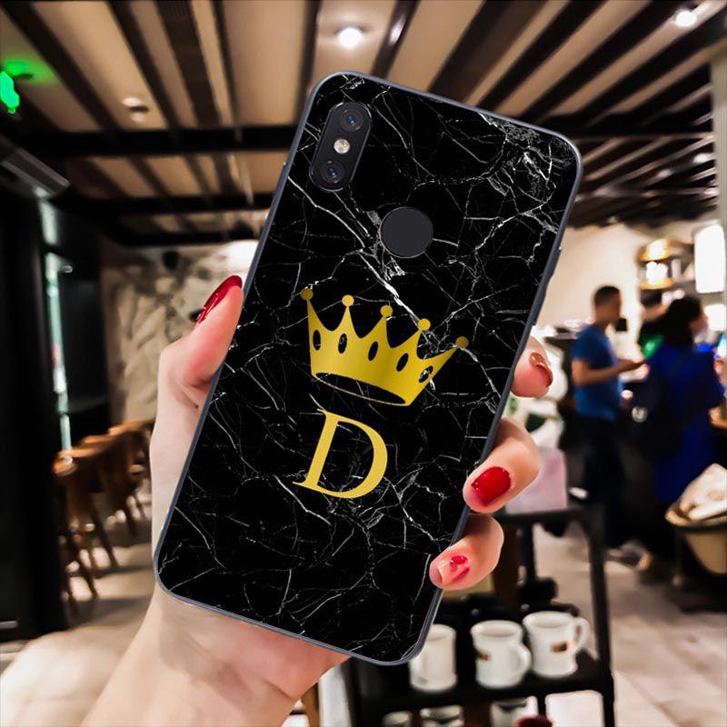 Custom name Letter Monogram Black Marble Gold crown