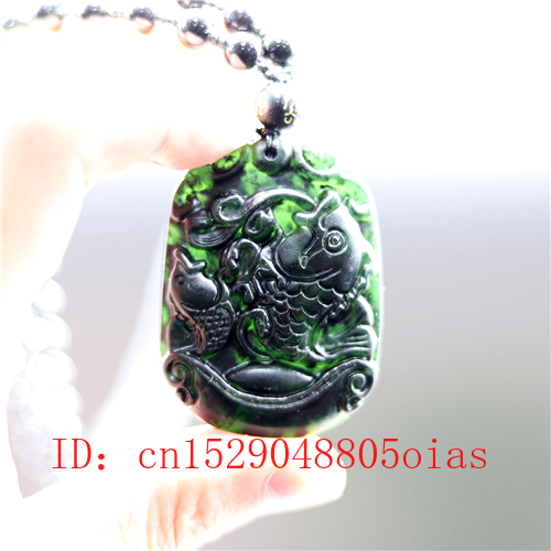 New China/'s natural jade nephrite carving black jade pendant Pisces Fish