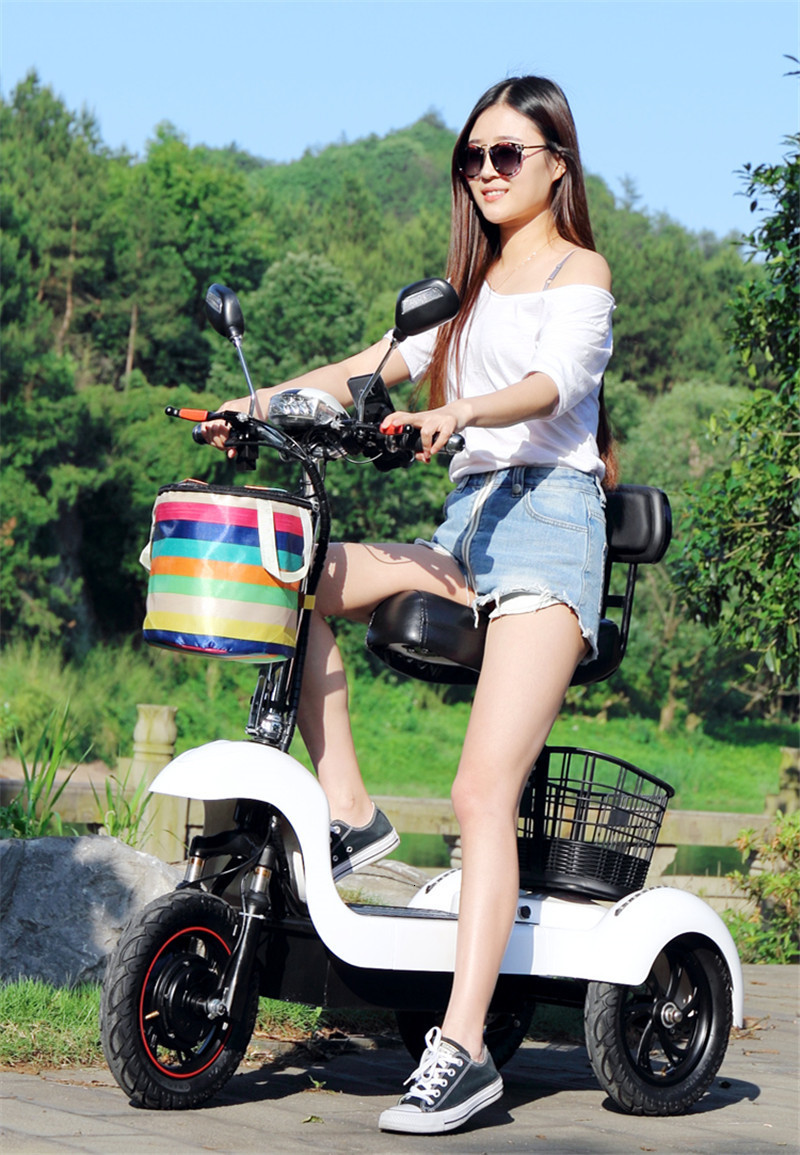 Daibot Electric Tricycle Bike 3 Wheels Electric Scooters Single Motor 500W 48V WhiteBlack Electric Scooter With Seat Adults (4)