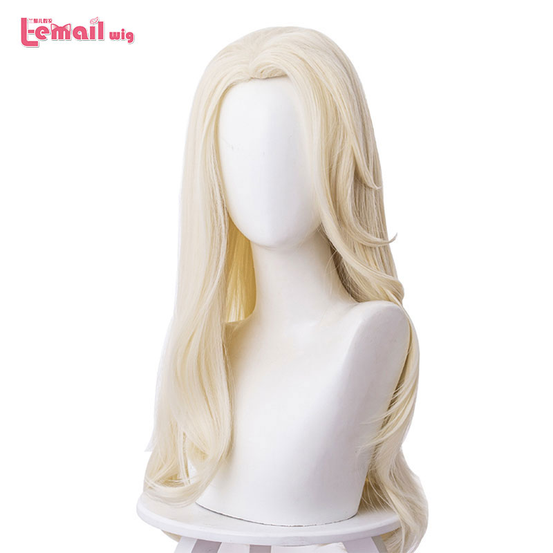 L-email wig Princess Elsa Cosplay Wigs Long Blonde Loose Wave Cosplay Wig Halloween Heat Resistant Synthetic Hair