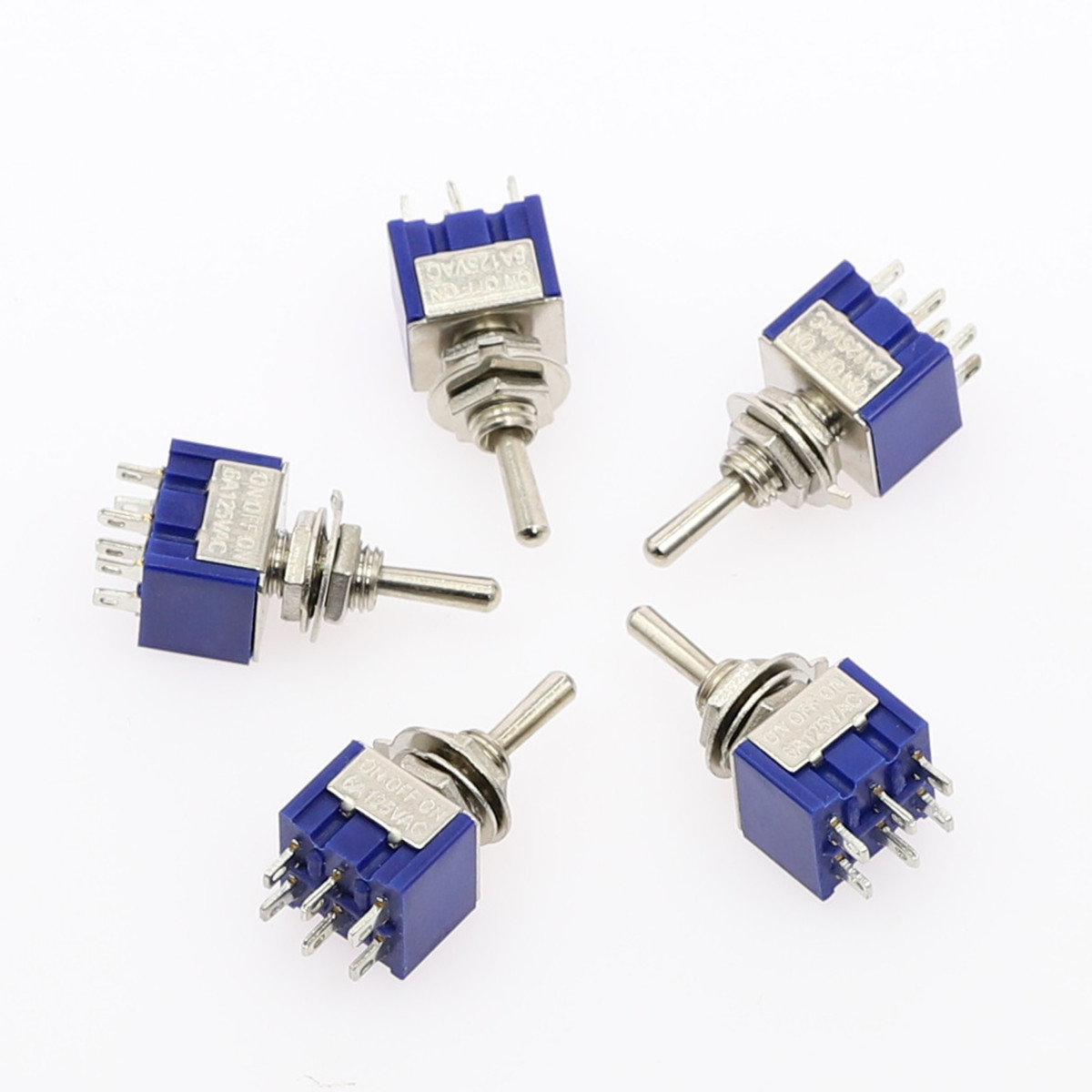 5Pcs Miniature Toggle Switch Single Pole Double Throw ON-OFF-ON /ON-ON 120VAC 6A 1/4 Inch Mounting MTS-102 103 202 203