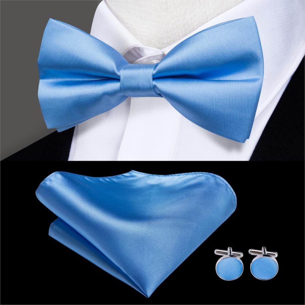 USA Yellow Novelty Solid Mens Bow Tie Hanky Cufflinks Pocket Square Set LH-770