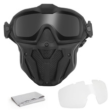 Tactical Mask Detachable Goggle With Anti-fog Fan System Full Face Protective CS Wargame Combat Airsoft Paintball Accessories