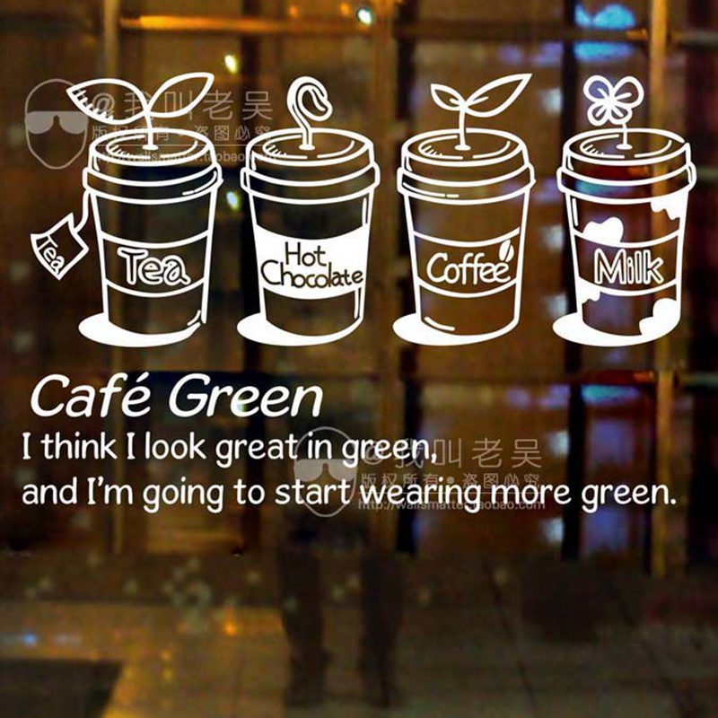DCTAL Milk Tea Coffee Shop Sticker Cafes Ice Cream Bread Cake Kitchen Wall Art Removable Sticker Decal