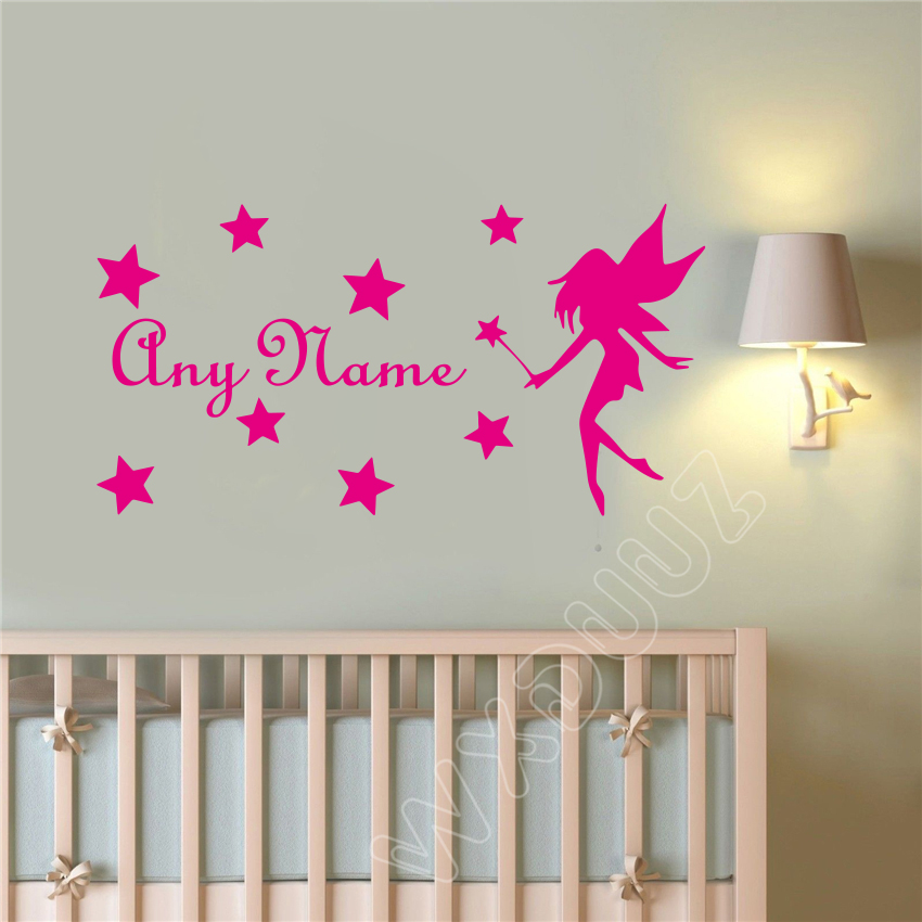 FAIRY Wall Sticker Personalised Name Girls Bedroom Vinyl Wall Art Decal L25